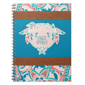 Free Spirit, Boho Faux Leather Spiral Notebooks