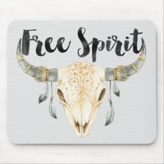 Free Spirit Bull Head with Feathers Mouse Mat