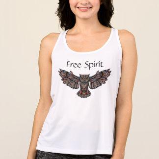 Free Spirit Fractal Owl Workout Tank Top