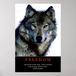 Free Spirit Motivational Wolf Eyes Poster Print