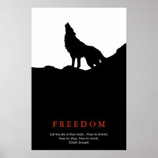 Free Spirit Motivational Wolf on Hill Black White Poster
