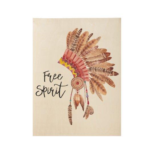 Free Spirit Native American Feather Headdress Wood Poster