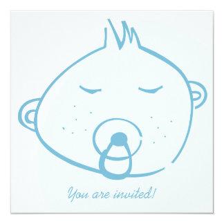 Free Style Baby Boy -  Baby Shower 13 Cm X 13 Cm Square Invitation Card