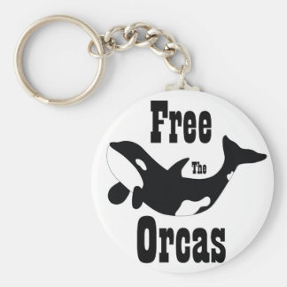 Free The Orcas Basic Round Button Key Ring