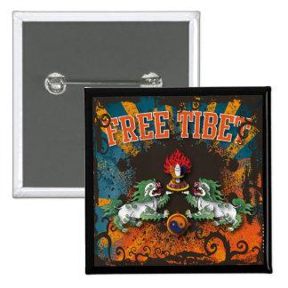 Free Tibet Grunge Art 15 Cm Square Badge