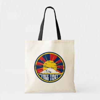 Free Tibet Round Grunge Tote Bags