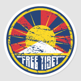 Free Tibet Round Grunge Round Sticker