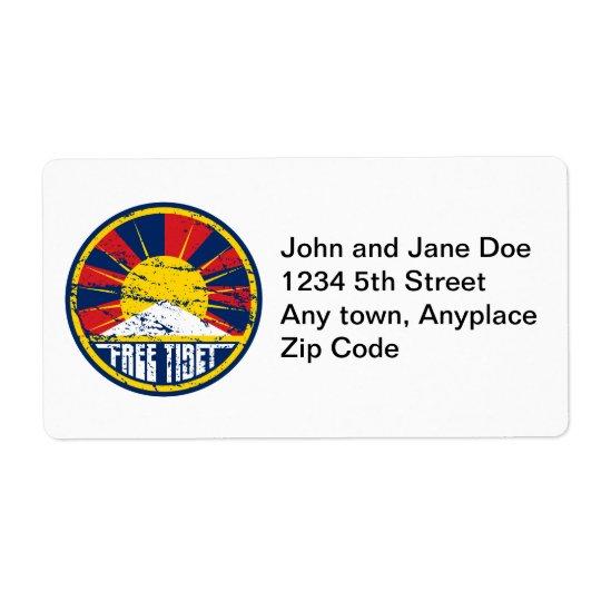 Free Tibet Round Grunge Shipping Label