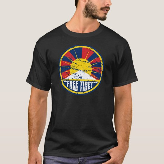 Free Tibet Round Grunge T-Shirt