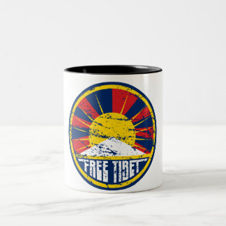 Free Tibet Round Grunge Two-Tone Coffee Mug