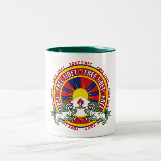 Free Tibet Round Logo Two-Tone Coffee Mug