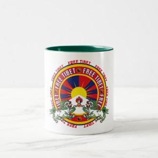 Free Tibet Round Logo Two-Tone Coffee Mug