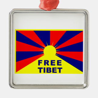 Free Tibet Silver-Colored Square Decoration