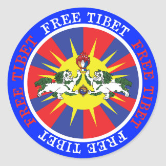 Free Tibet Snow Lions and Independence Slogan Classic Round Sticker
