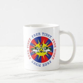 Free Tibet Snow Lions and Independence Slogan Coffee Mug