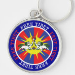 Free Tibet Snow Lions and Independence Slogan Silver-Colored Round Key Ring