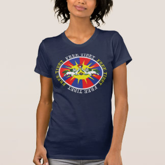 Free Tibet Snow Lions and Independence Slogan T-Shirt