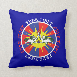 Free Tibet Snow Lions and Independence Slogan Throw Pillow