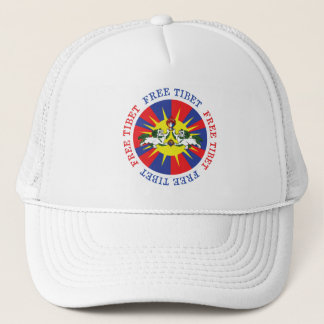 Free Tibet Snow Lions and Independence Slogan Trucker Hat
