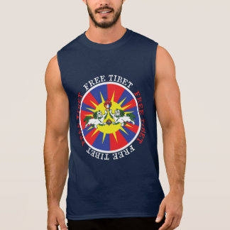 Free Tibet Snow Lions and Independence Slogan Sleeveless Tees
