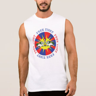 Free Tibet Snow Lions and Independence Slogan Sleeveless Shirts