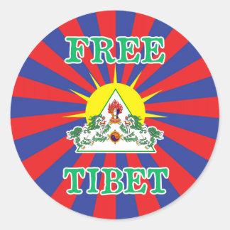 Free Tibet Snow Lions and Sun Symbol Classic Round Sticker