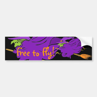 Free to Fly! Witches take flight Bumper Sticker