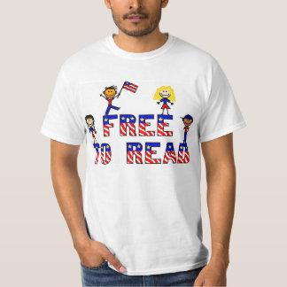 Free to Read w Stick Kids,Value T Tee Shirts