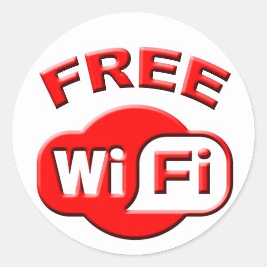 FREE WI FI red Round Sticker