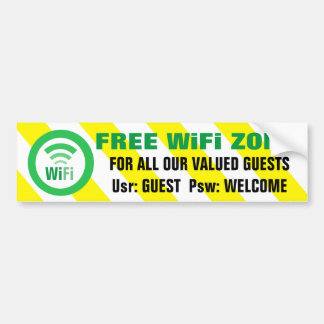 Free WiFi Zone Warning Sign Bumper Sticker