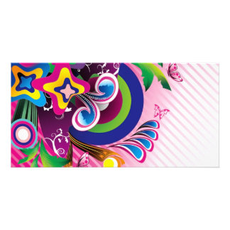 Free Wonderful Colorful Background Vector Graphics Photo Card Template