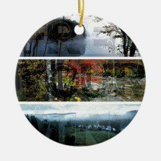 Free Your Mind Panoramic Scenery - Explore Worlds Round Ceramic Decoration