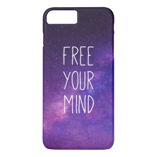 """""""Free Your Mind"""" Quote Blue Night Sky iPhone 7 Plus Case"""