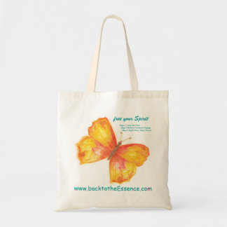 'free your Spirit' butterfly logo natural tote bag