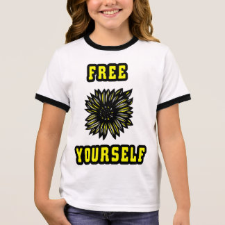 """Free Yourself"" Girl's Ringer T-Shirt"