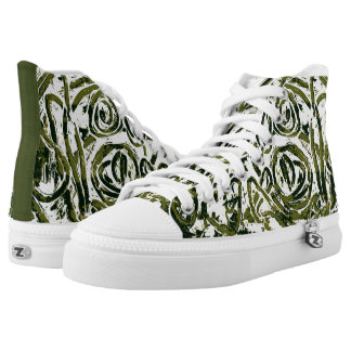 Free Zigzag. Green Abstract Trainers. Printed Shoes