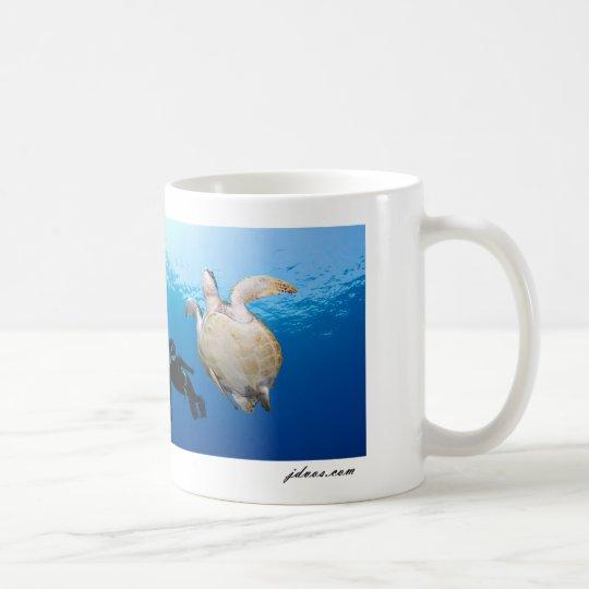Freediver And Green Turtle Coffee Mug