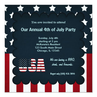 Freedom 4th of July 13 Cm X 13 Cm Square Invitation Card