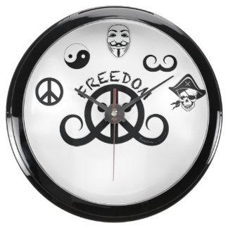 "Freedom aqua clock (fishbowl 10""; origin motif)"