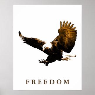 Freedom Eagle Motivational Brown Pop Art Poster