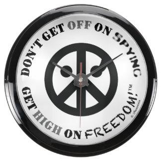 "Freedom fishbowl clock(10""dia;logo GetOff/GetHigh) Fish Tank Clocks"