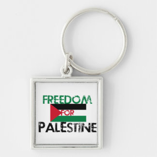 Freedom for Palestine Silver-Colored Square Key Ring