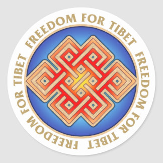 Freedom for Tibet Endless Knot Pattern Round Sticker