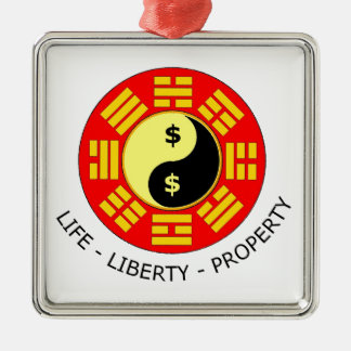 Freedom Gifts For Liberty Lovers Silver-Colored Square Decoration