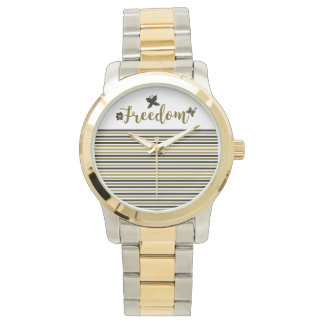 Freedom Golden Boho Spring Butterfly Calligraphy Watch