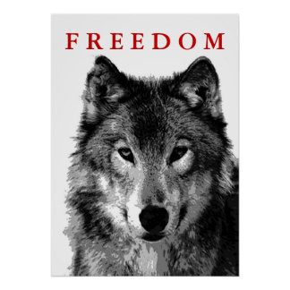 Freedom Grey Wolf Motivational Poster Print