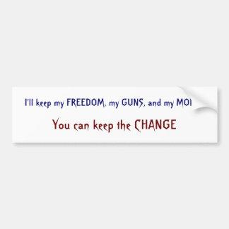 Freedom, Guns, Money, Change Bumper Sticker
