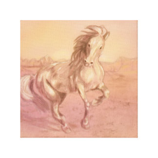 Freedom Horse Wrapped Canvas Print- Pink Peach