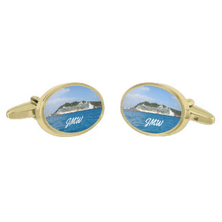 Freedom in St. Maarten Monogrammed Gold Finish Cuff Links