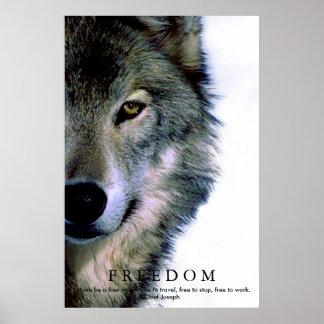 Freedom Motivational Wolf Eye Poster